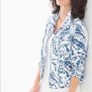 Chico's Summer Print Linen Jean Jacket NWT